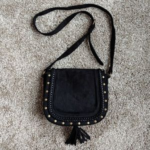 Express black Faux suede studded crossbody purse